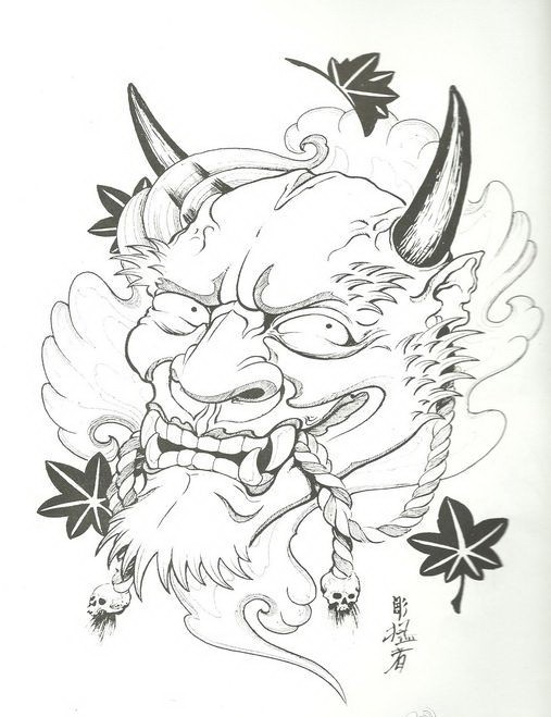 Cunning black-and-white devil with maple leaves tattoo design
