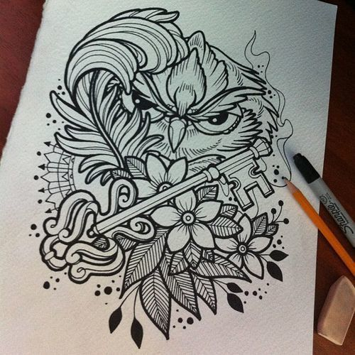 Cunning black-and-white owl with key and feather in flowers tattoo design