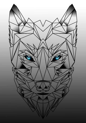 Cunning blue-eyed geometric wolf muzzle tattoo design