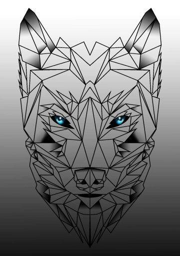 Cunning Blue Eyed Geometric Wolf Muzzle Tattoo Design