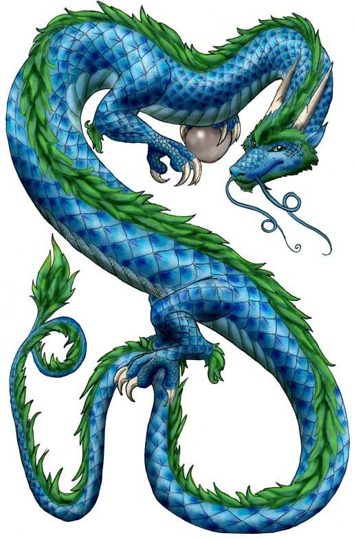 Cunning blue asian dragon with green mane and magic ball tattoo design by Nashoba Hostina