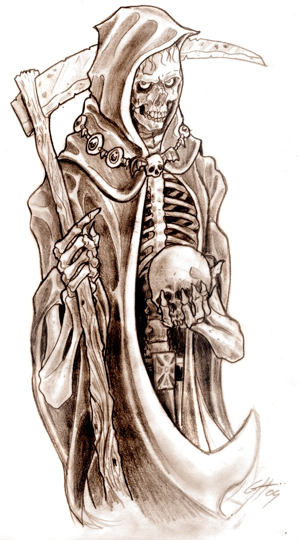 Cunning brown-ink death keeping a skull in a hand tattoo design