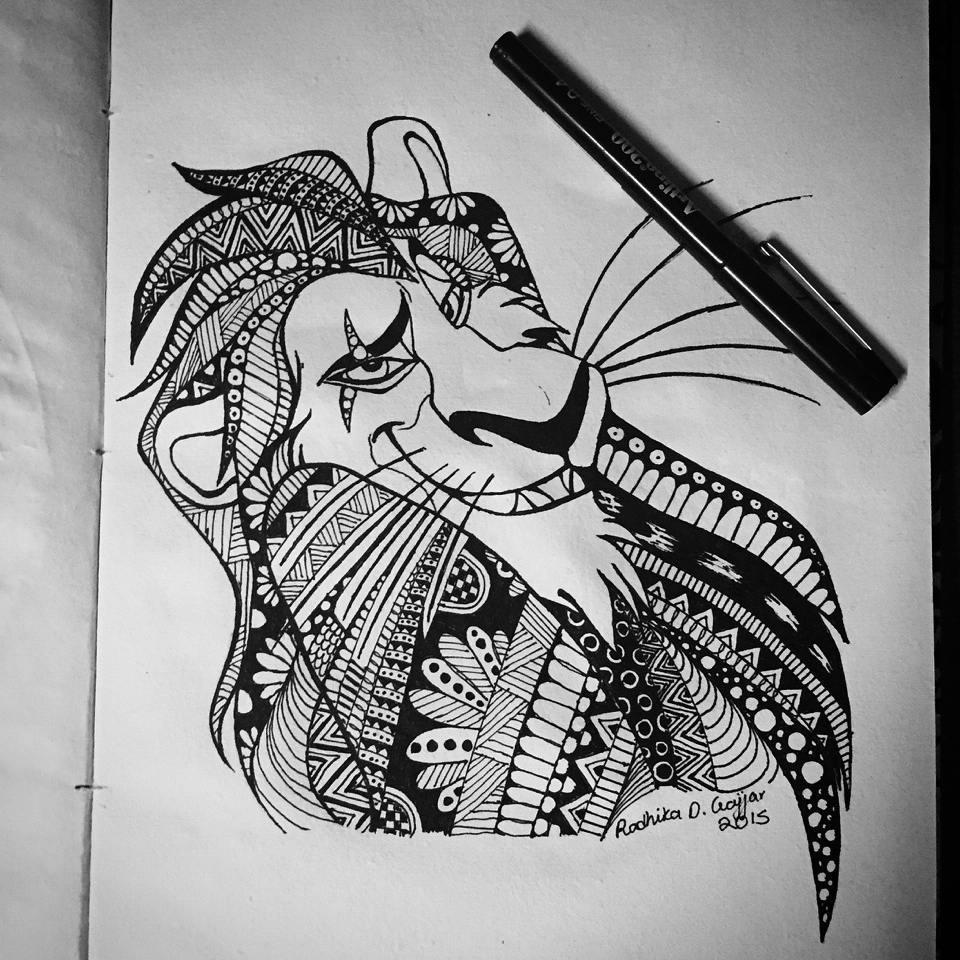 Cunning Cartoon Ornamented Lion Tattoo Design