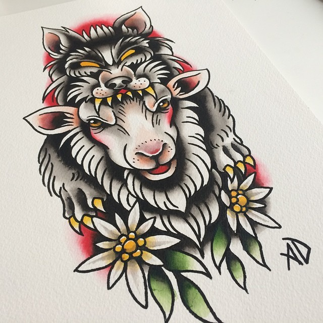 Cunning color-ink sheep in wolf clothing with flowers tattoo design