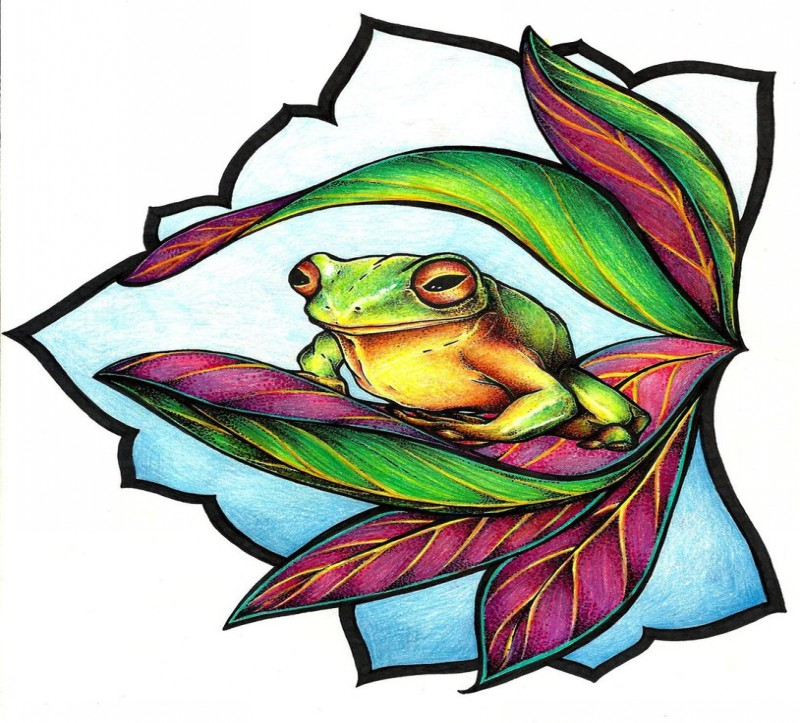 Cunning colorful frog sitting on green-and-vinous leaves tattoo design by Mijazaszka