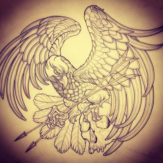 Cunning eagle leeping arrows in clutches tattoo design