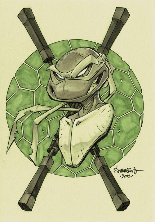 Cunning green ninja mutant turtle with weapon sticks tattoo design