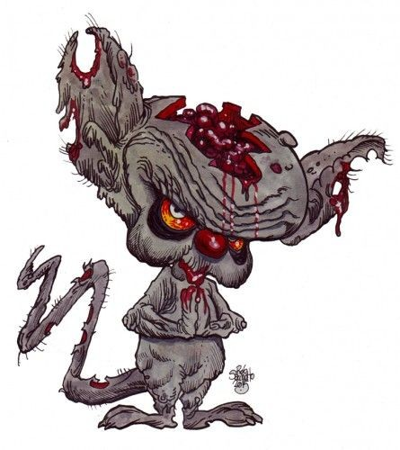 Cunning grey zombie rodent tattoo design