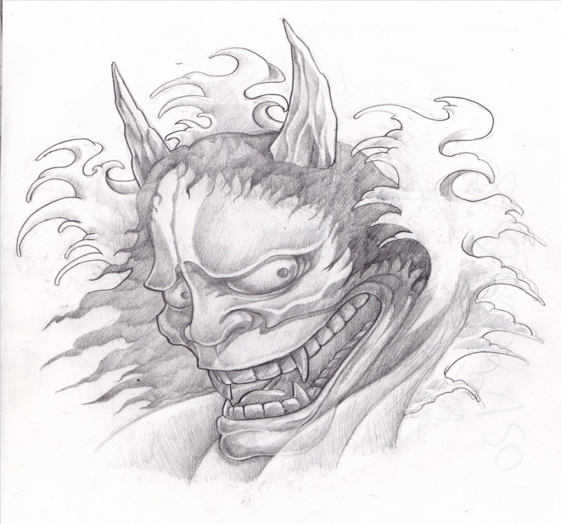 Cunning pencilwork devil in splashing waves tattoo design by Zoom Zoommm