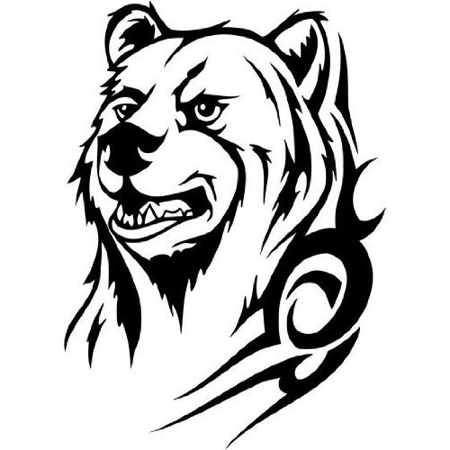 Cunning tribal grizzly portrait tattoo design