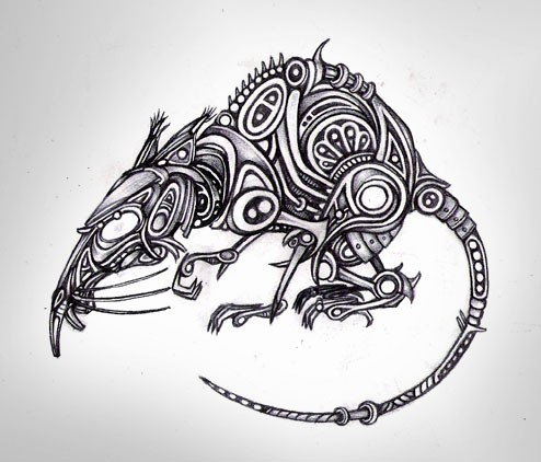 Cunning uncolored mechanical rodent tattoo design by Boswaldo