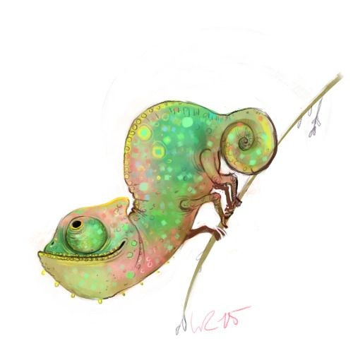 Chameleon Outline Tattoo: Curious Animated Colorful Chameleon Tattoo Design