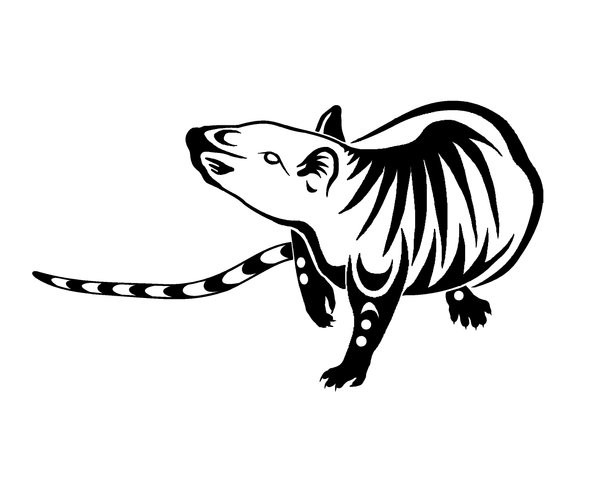 Curious tribal rodent tattoo design by Sparky Com