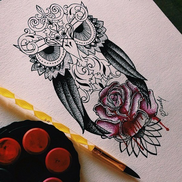 curl head owl with black wings and bloody red rose tattoo design. Black Bedroom Furniture Sets. Home Design Ideas