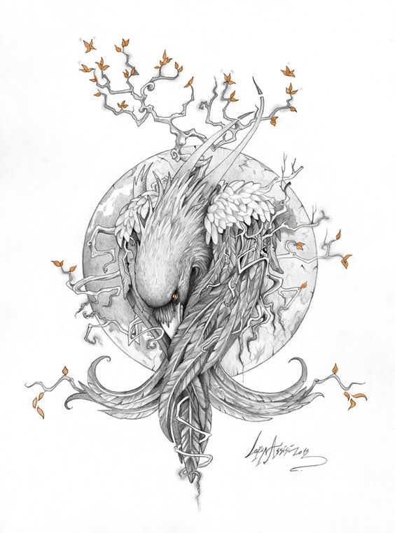 Curled raven with tree branches on moon background tattoo design