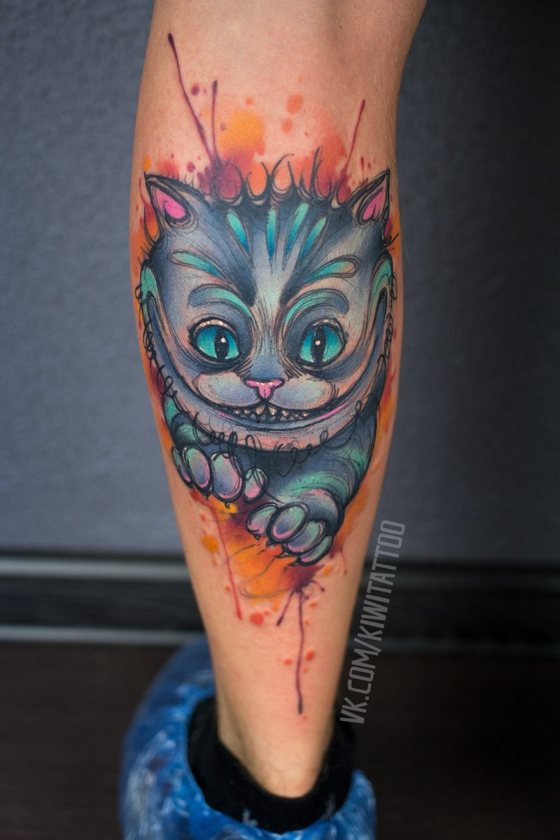 Cute Cheshire Cat tattoo on leg