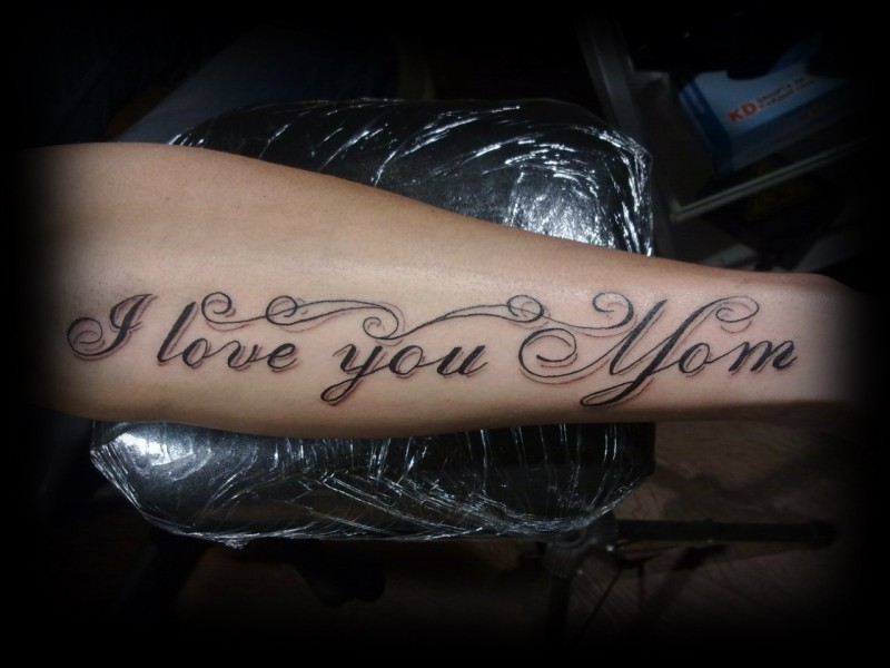 Cute I love you mom quote tattoo on arm