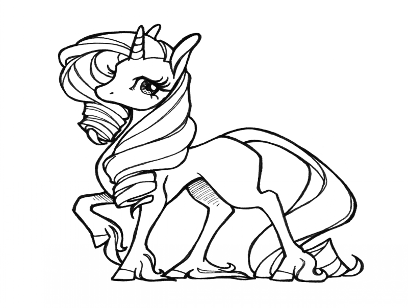 Cute Animated Outline Unicorn Tattoo Design