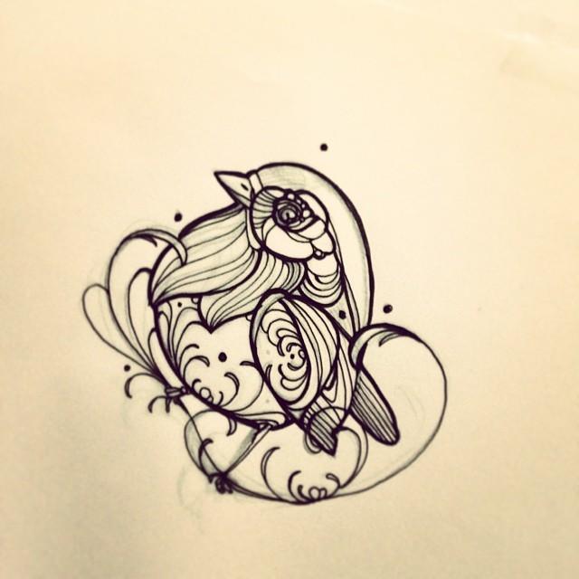 Cute ball-shaped ornate sparrow tattoo design