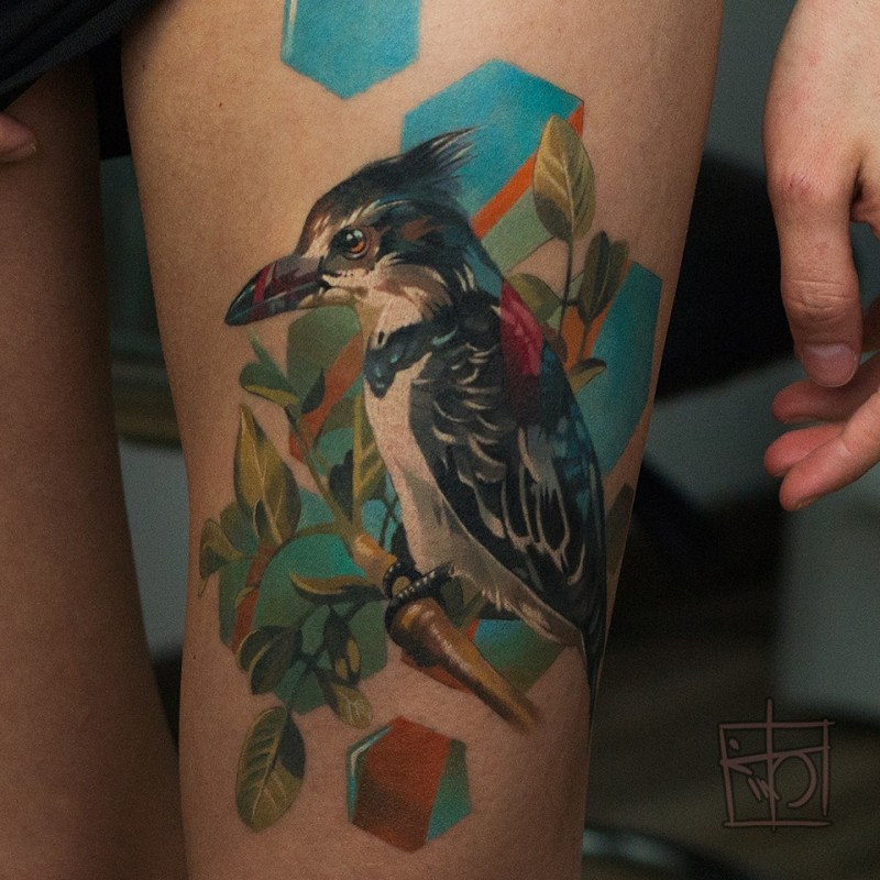 Cute bird tattoo on thight for girl
