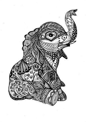 Cute Black And White Ornamented Elephant Baby Tattoo Design Tattooimages Biz