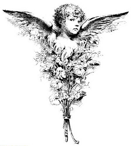 Cute black-ink baby angel in floral bouquet tattoo design