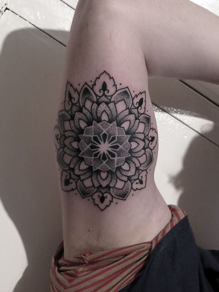 cute black ink mandala flower tattoo on upper arm. Black Bedroom Furniture Sets. Home Design Ideas