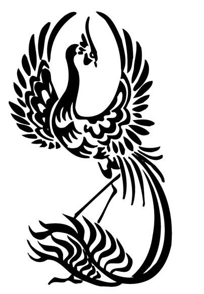 Cute black-ink phoenix bird tattoo design
