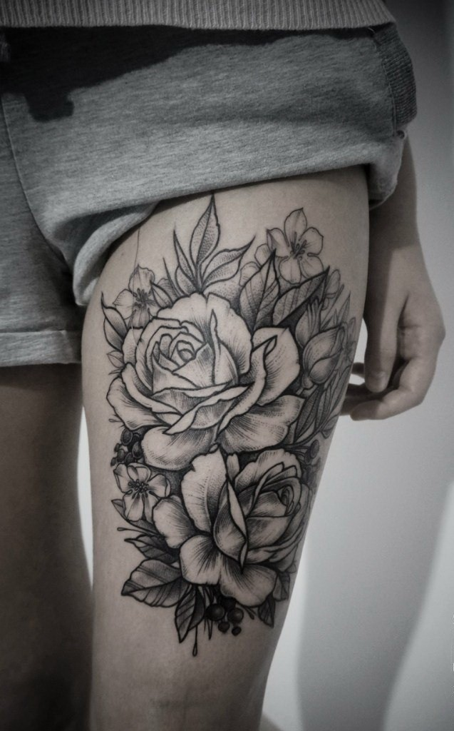 cute black ink rose flowers tattoo on thigh