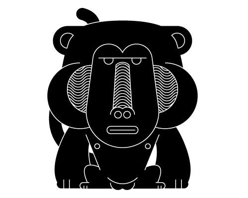 Cute black baboon with white-line print tattoo design
