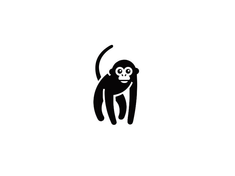 Cute black chimpanzee logo tattoo design