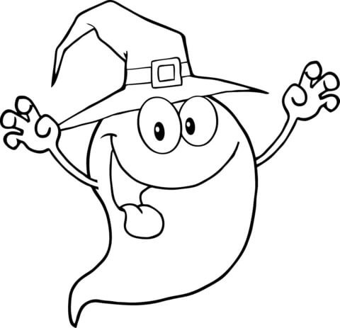 Cute Black Outline Ghost In High Witch Hat Tattoo Design Tattooimages Biz