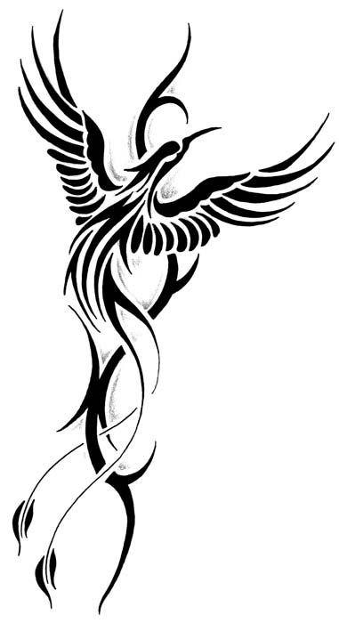 Cute black stylized phoenix tattoo design