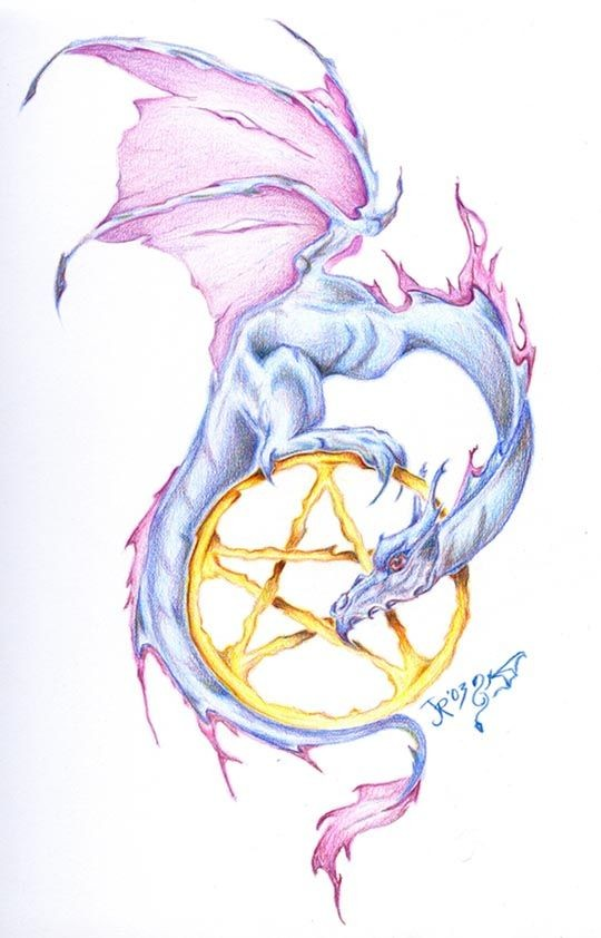 Cute blue-and-purple cartoon dragon and yellow star symbol tattoo design