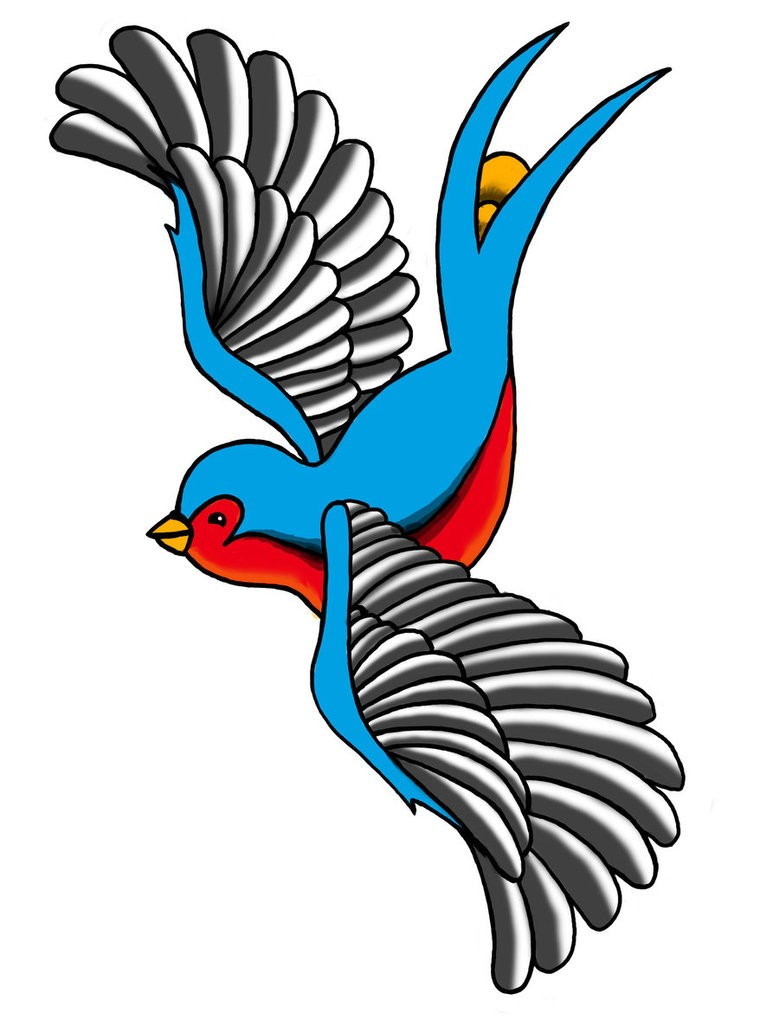 Cute blue sparrow with grey wings and red belly tattoo design