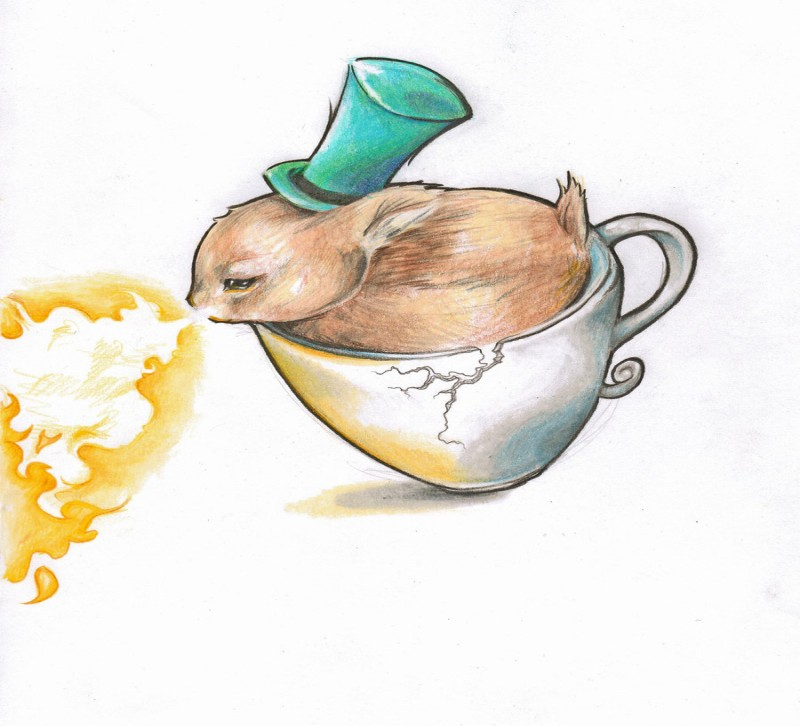Cute brown rabbit in green hat sitting in cup and breathing with flame tattoo design