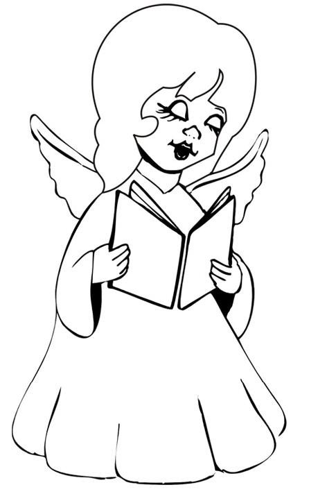 Cute cartoon angel girl reading a book tattoo design