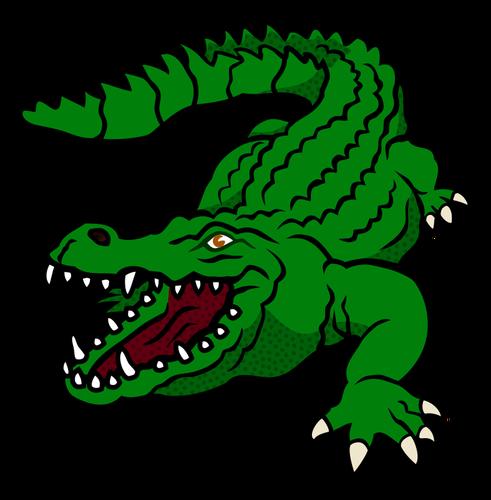 Cute cartoon bright green reptile tattoo design
