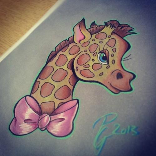 Cute cartoon colorful giraffe in pink tie-bow tattoo design