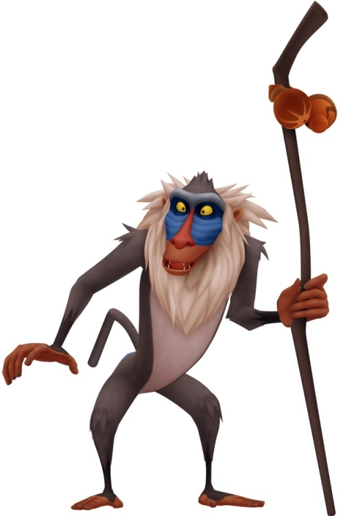 Cute cartoon colorful standing baboon with stick tattoo design