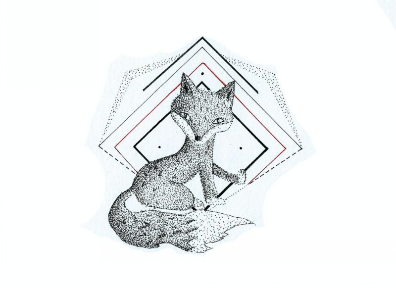 Cute cartoon dotwork fox and geometric drawings tattoo design by Pixiebmthd