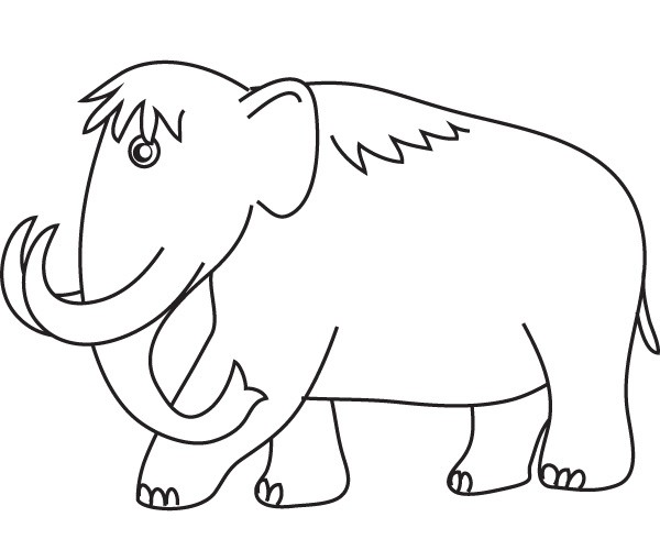 Cute cartoon outline mammoth tattoo design