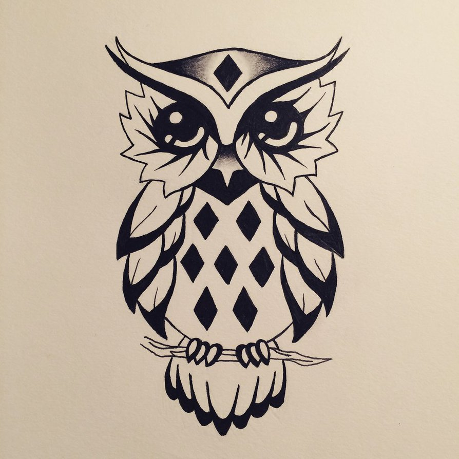 cute cartoon owl tattoo design by water girl1996. Black Bedroom Furniture Sets. Home Design Ideas