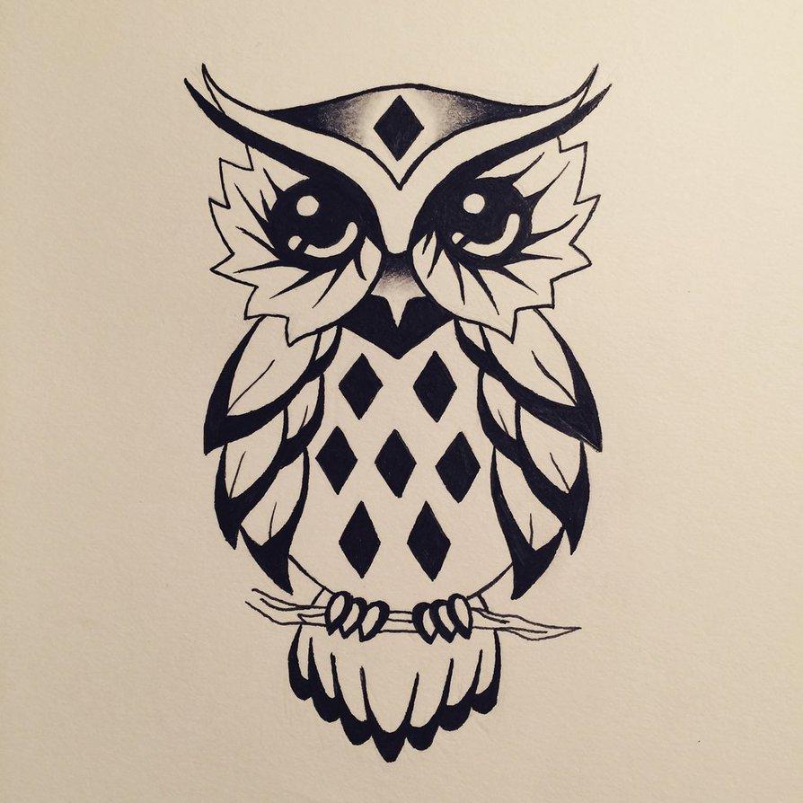 Cute cartoon owl tattoo design by Water Girl1996 ...