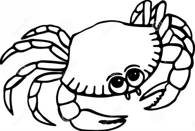 Cute cartoon uncolored crab tattoo design