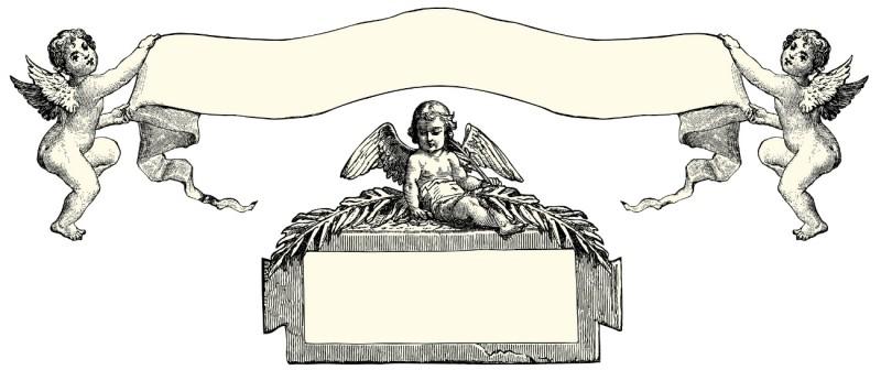 Cute cherub angels and giant memorial ribbon tattoo design