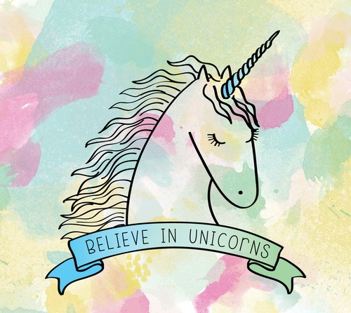 Cute close-eyed unicorn with a banner tattoo design