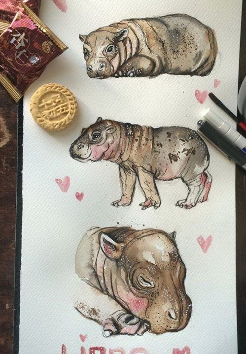 Cute color-ink hippo baby in different poses tattoo design