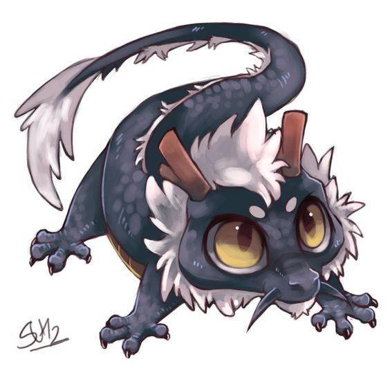 Cute colored cartoon dragon baby tattoo design
