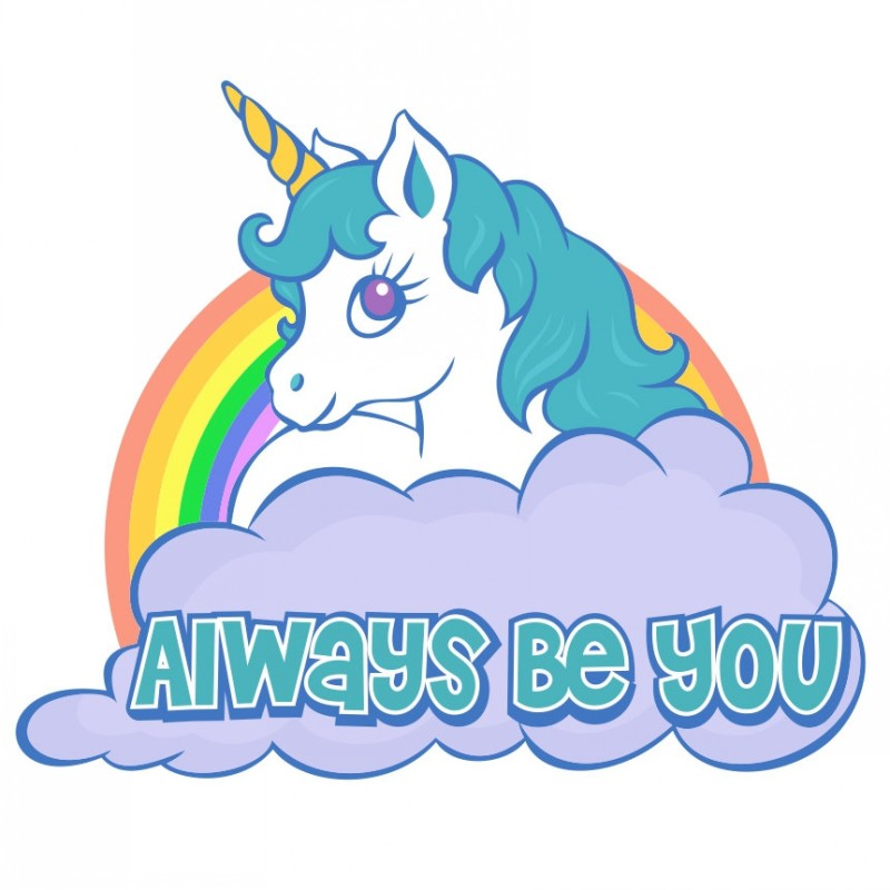 Cute colored cartoon unicorn with rainbow and quoted cloud tattoo design